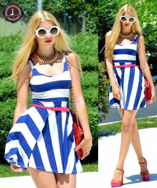 Lidiya in a nautical blue striped mini dress