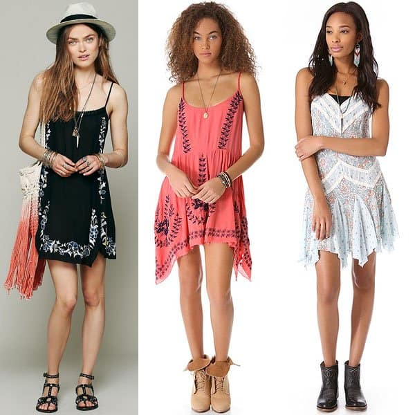 Uneven hems on slip dresses give them more flow, movement, and weight