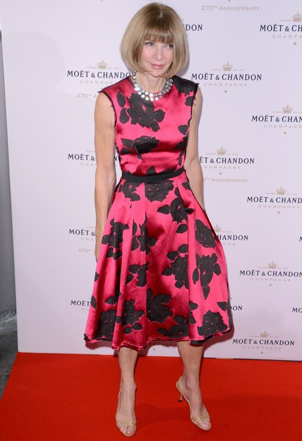 Anna Wintour was clad in a floral number by Lanvin, which boasts a gorgeous silk fabric with a rose and leaf pattern