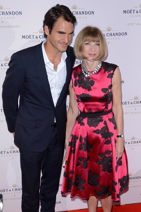 Anna Wintour and Roger Federer at Moët & Chandon's 270th anniversary at Chelsea Piers Sports Center in New York on August 20, 2013