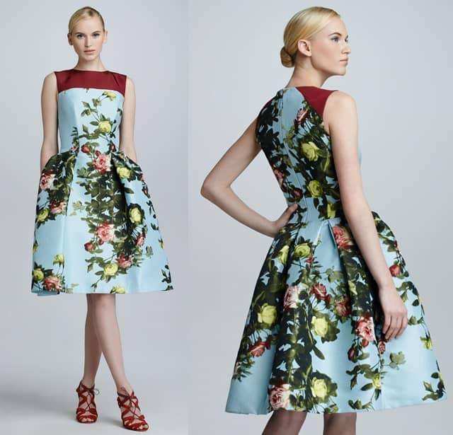 Carolina Herrera Floral Jacquard Full-Skirt Dress