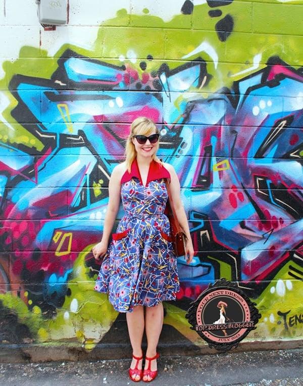Charmaine's rocket-like printed halter dress