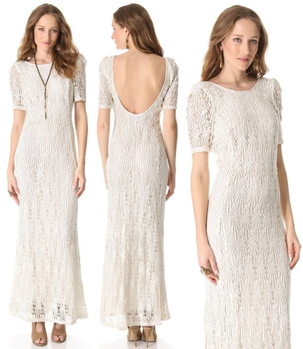 The elegant weight of guipure lace lends antiqued appeal to this Faith Connexion dress, which is composed in a simple silhouette with an alluring, low-cut back