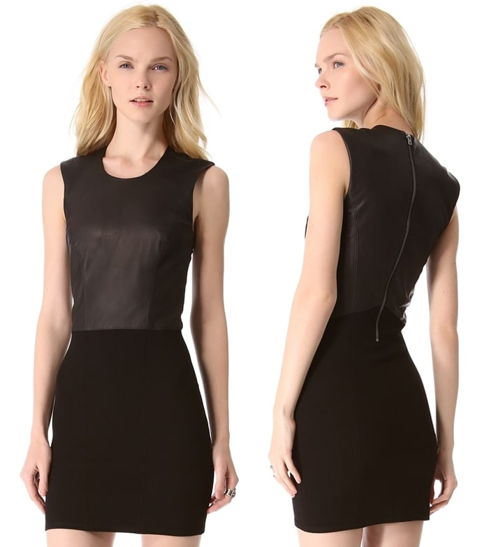 A leather bodice and an exposed back zip keep the look tough, while princess seams and a slim, ribbed skirt create a polished profile