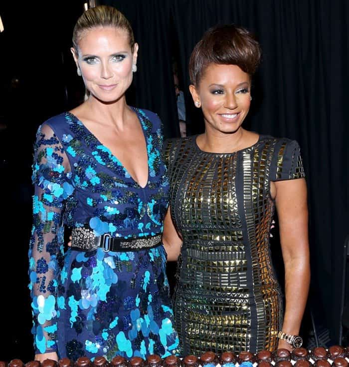Mel B and Heidi Klum attend the Post-Show Red Carpet Event of America's Got Talent Season 8 at Radio City Music Hall in New York