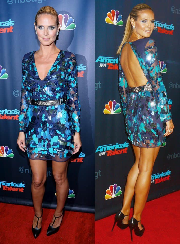 Heidi Klum flaunted her legs in a blue sequined Asos dress and Yves Saint Laurent t-strap pumps