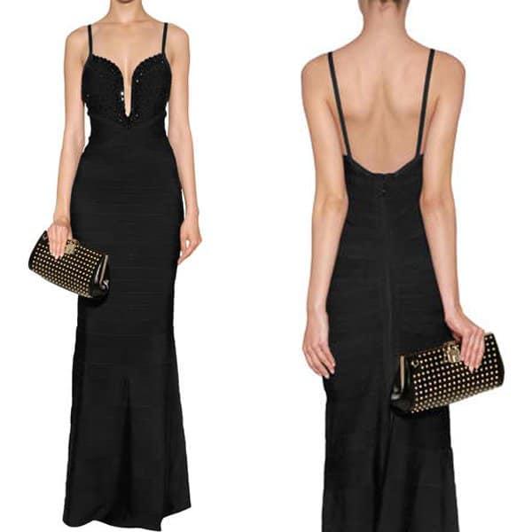 Hervé Léger Embellished Evening Gown in Black