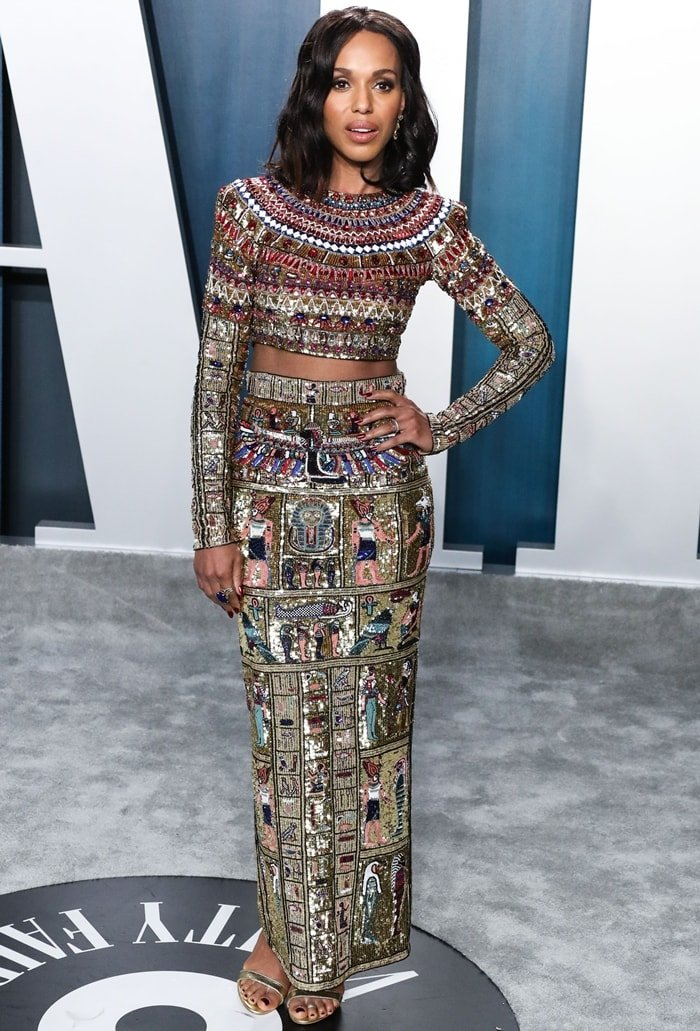 Kerry Washington in an Egyptian-inspired Zuhair Murad's Spring 2020 Couture dress at the 2020 Vanity Fair Oscar Party