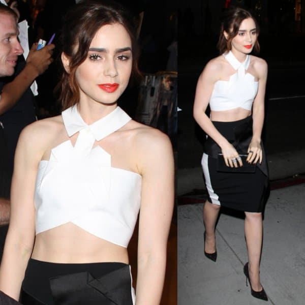 Lily Collins in a sexy top with origami folding at a G-Star Raw Store event