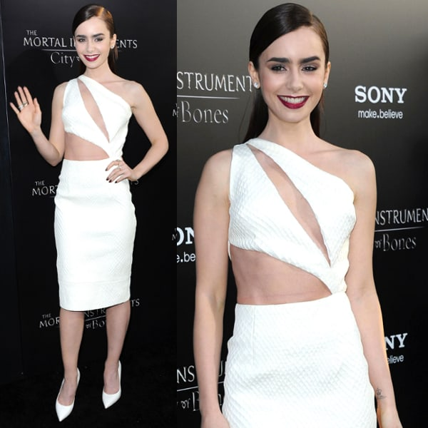 Lily Collins at the premiere of Screen Gems & Constantin Films' The Mortal Instruments: City of Bones