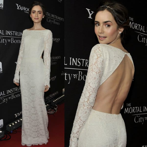 Lily Collins in a white lace dress by Houghton at the premiere of The Mortal Instruments: City of Bones