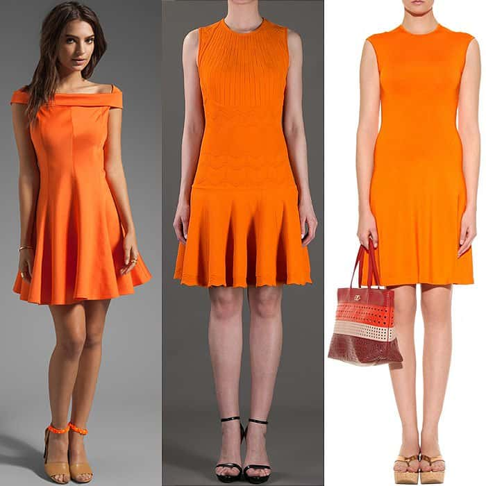 Orange fit and flare dresses