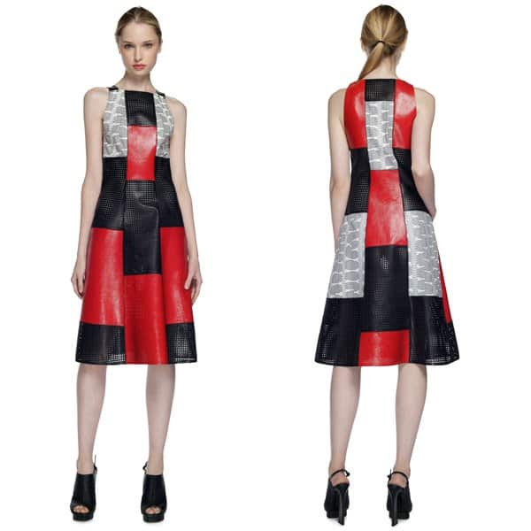 Proenza Schouler Patchwork Whipsnake Leather Dress