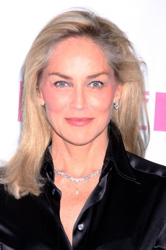 Sharon Stone opted for a black silk blouse