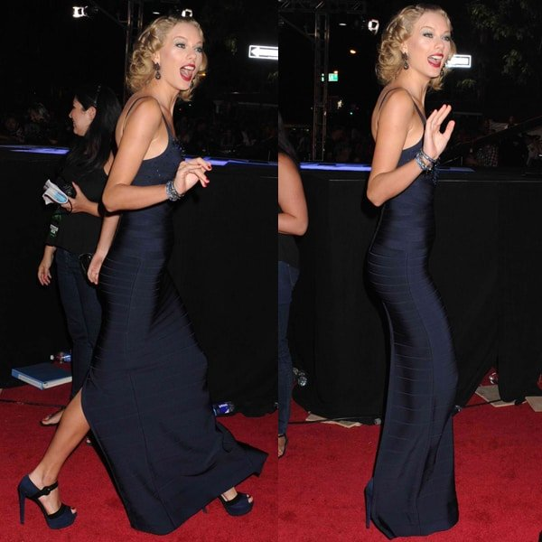 Taylor Swift channeled old Hollywood glamour in a plunging, navy Hervé Léger dress