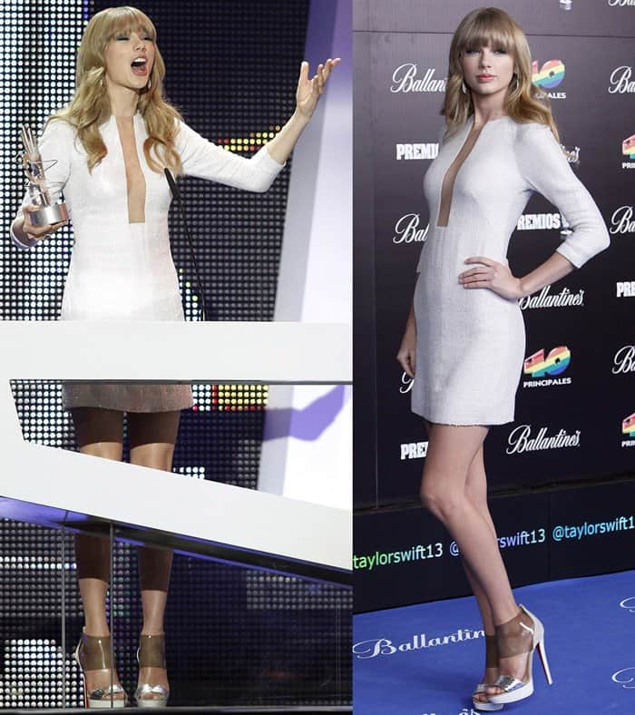 Taylor Swift in a KaufmanFranco dress at the 40 Principales Awards in Madrid on January 24, 2013