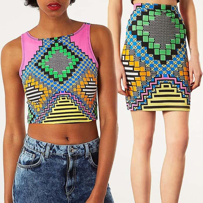 Topshop geometric print skirt and top