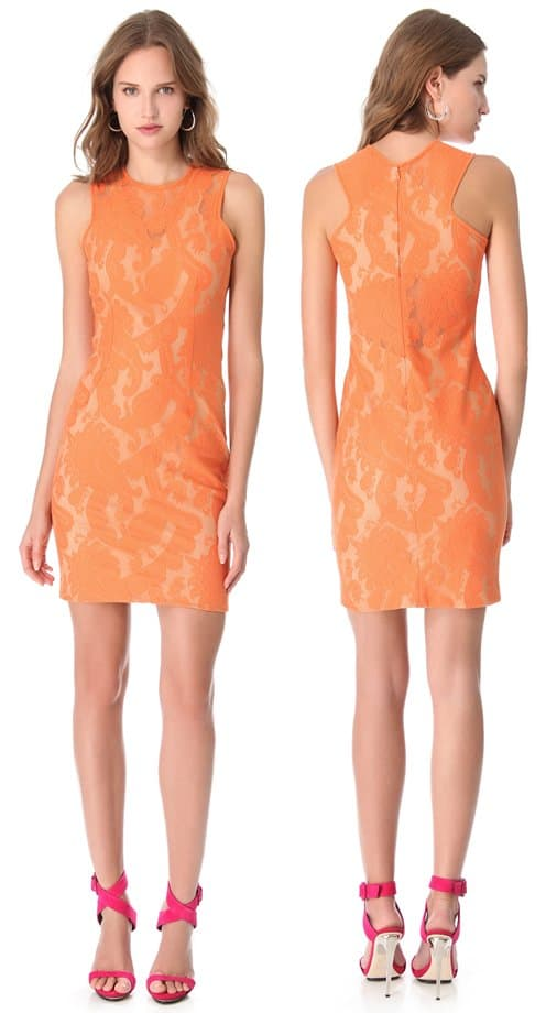 Rendered in bright lace in a paisley pattern, this Yigal Azrouel sheath dress emphasizes the figure for a bold, sexy fit