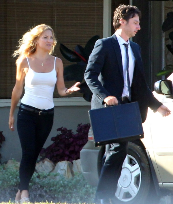 Kate Hudson and co-star/director Zach Braff filming a scene on August 13, 2013