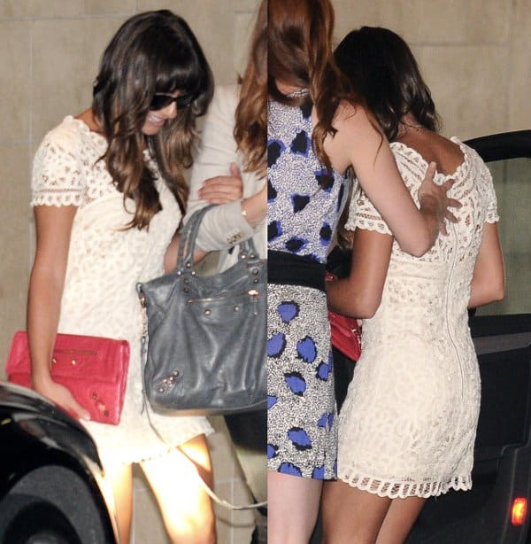 Lea Michele in a white lace dress attending her friend Jamie-Lynn Sigler's baby shower in Beverly Hills on August 8, 2013