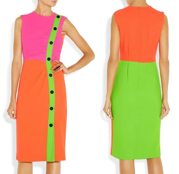 Roksanda Ilincic Etting Neon Wool-Crepe Dress