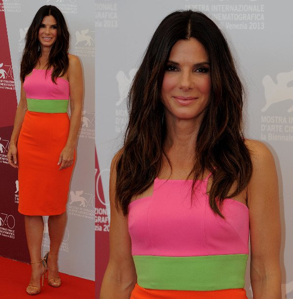 Sandra Bullock in a neon color-blocked dress by Alex Perry