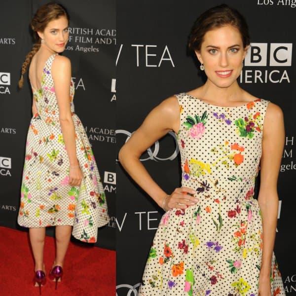 Allison Williams in a floral Oscar de la Renta dress at the BAFTA Los Angeles TV Tea 2013