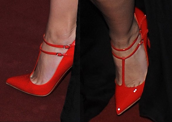 Daisy Lowe shows off her feet in red heels