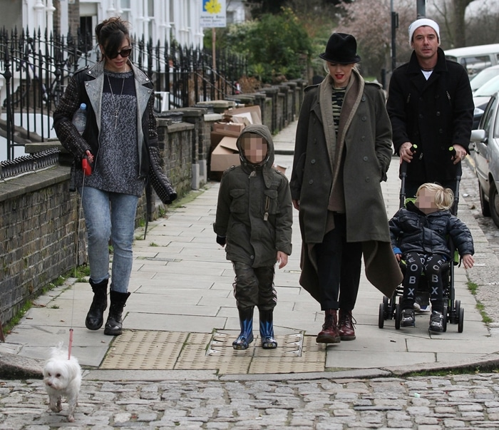 Gwen Stefani, Gavin Rossdale and their sons Kingston and Zuma meet with Daisy Lowe