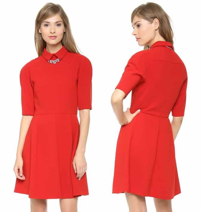 A fold-over collar adds a smart touch to this charming red dress, designed with minimal seaming and an A-line skirt