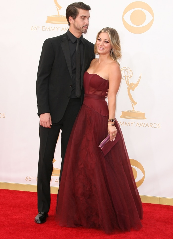 Kaley Cuoco and Ryan Sweeting arrive at the 65th Annual Primetime Emmy Awards