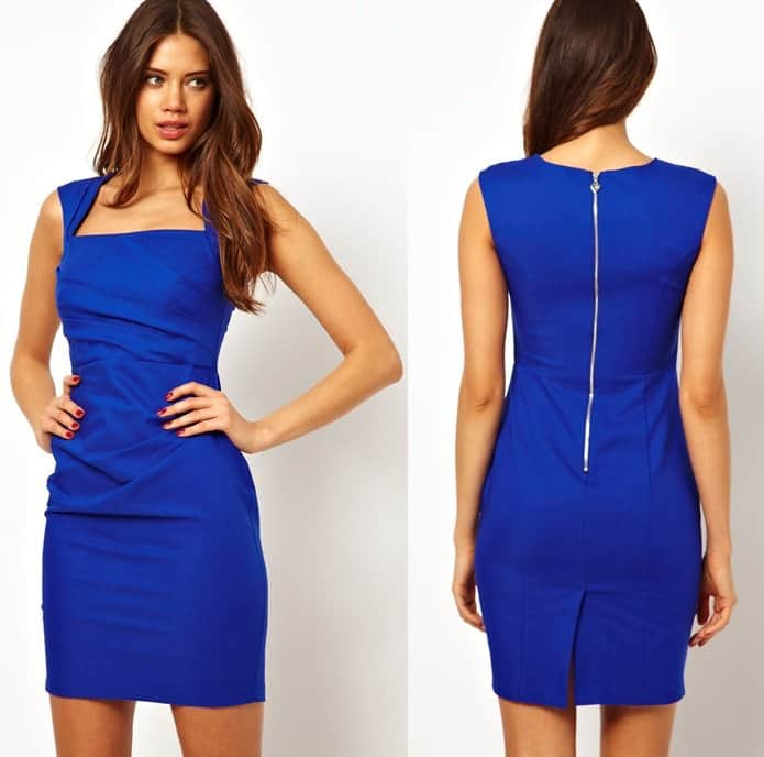 Lipsy Pleated Square Neck Dress