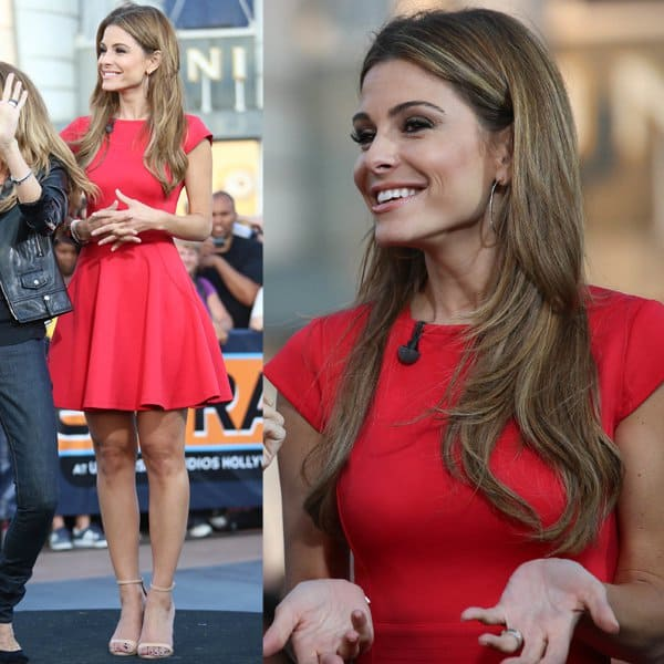 Maria Menounos rocks a red lustrous scuba-knit dress