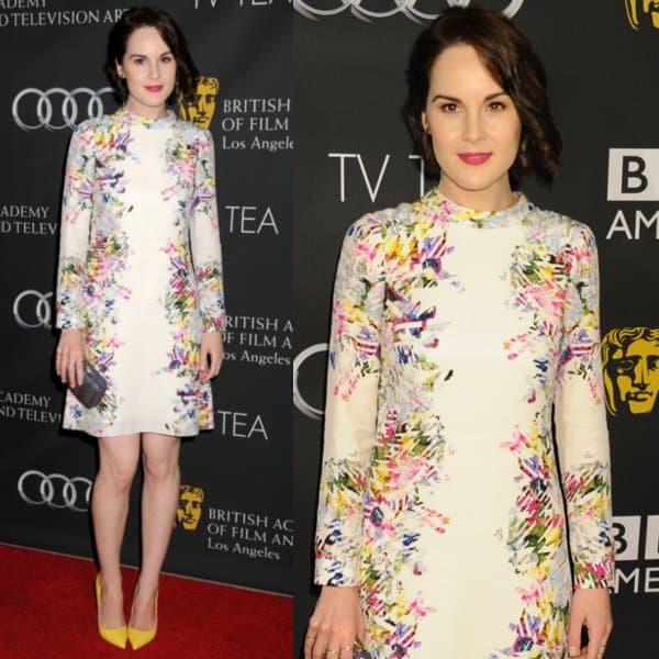 Michelle Dockery wears a floral Erdem dress at the BAFTA Los Angeles TV Tea 2013