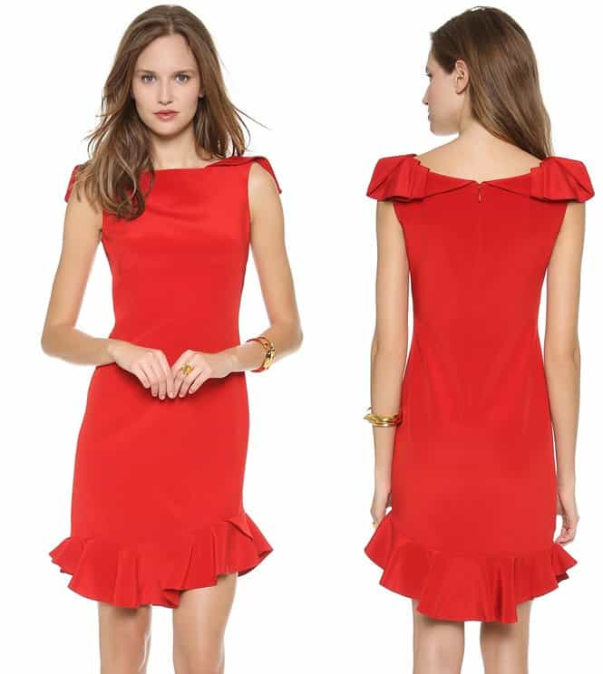 A vivid flame-red dress in luxe, double silk crepe featuring ruffled panel trims the graceful wide neckline