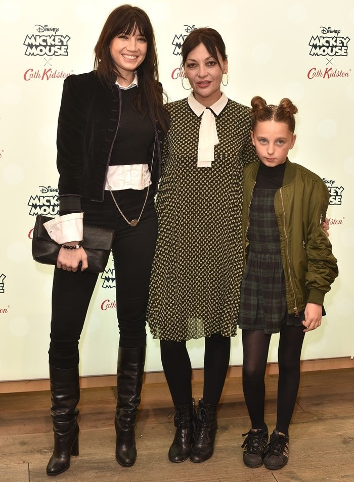 Daisy Lowe, her mother Pearl Lowe, and her half-sister Betty Lowe attend Disney X Cath Kidston VIP Launch