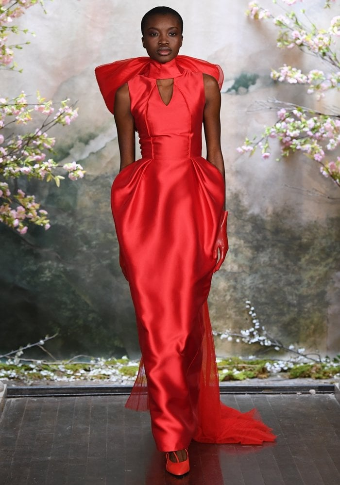 Red wedding dress by Tran Phuong My presented during New York Bridal Fashion Week Spring/Summer 2020