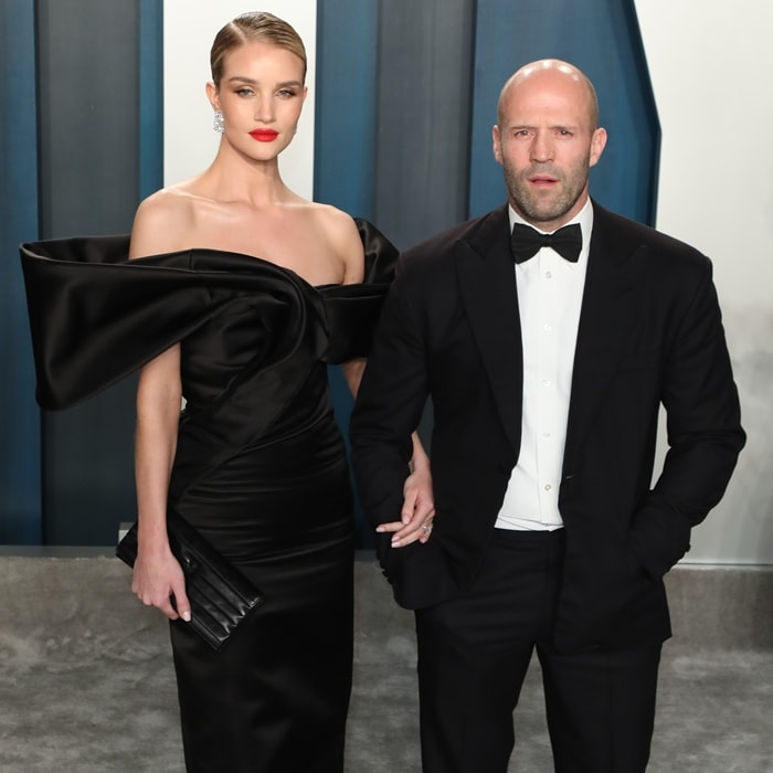 Rosie Huntington-Whiteley and Jason Statham attend the 2020 Vanity Fair Oscar Party