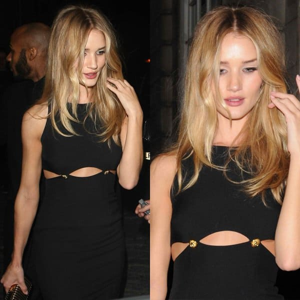 Rosie Huntington-Whiteley's black cutout dress with nautical gold buttons