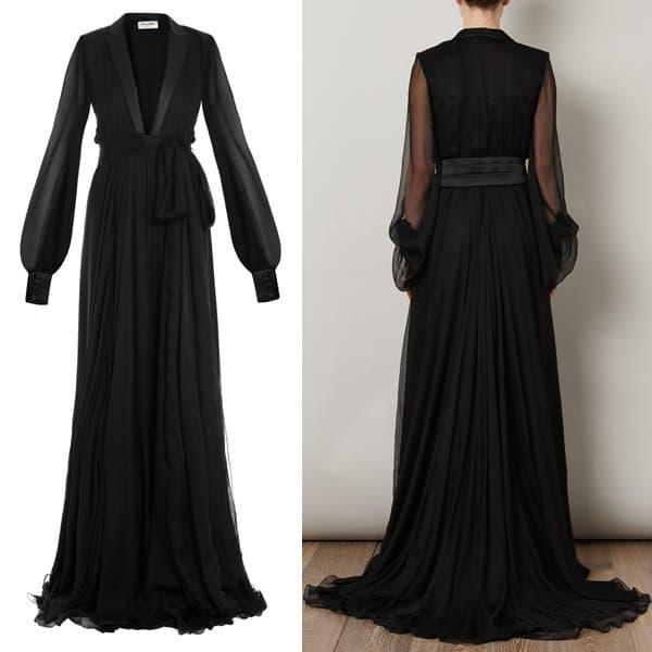 Saint Laurent Signature Smoking Dress in Black Crêpe