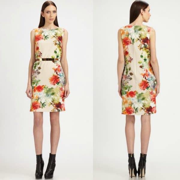 St. John Floral Silk Dress