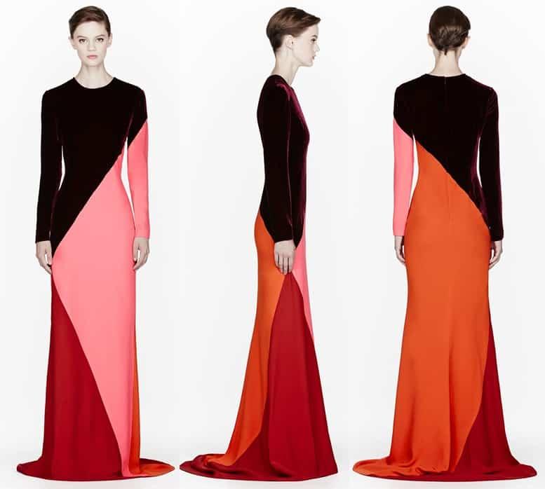 Stella McCartney Colorblocked Velvet Gown-horz