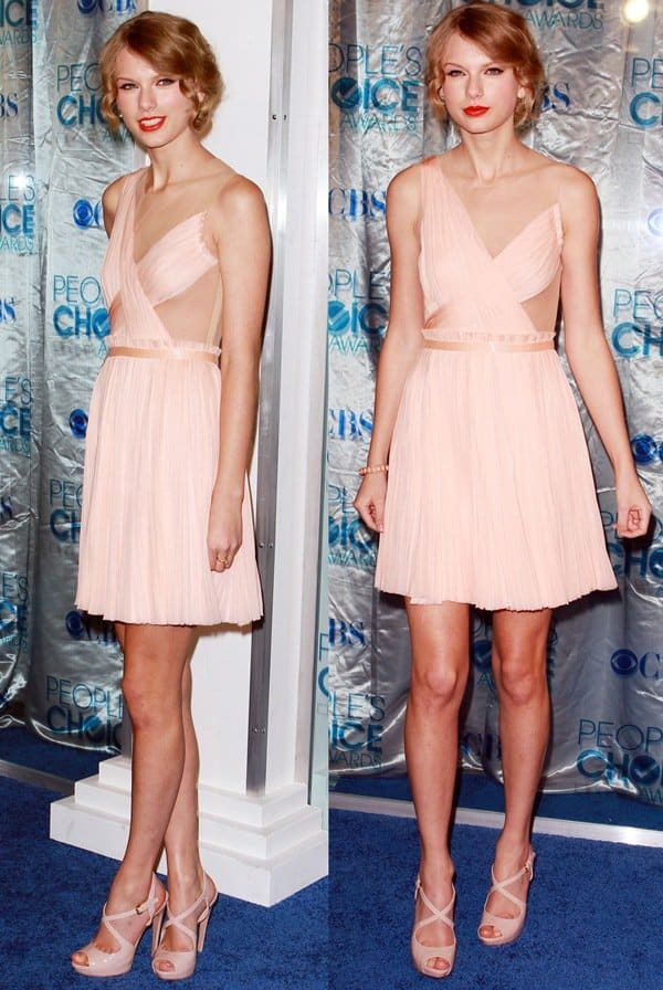 Taylor Swift rocks a peach dress at the 2011 People's Choice Awards