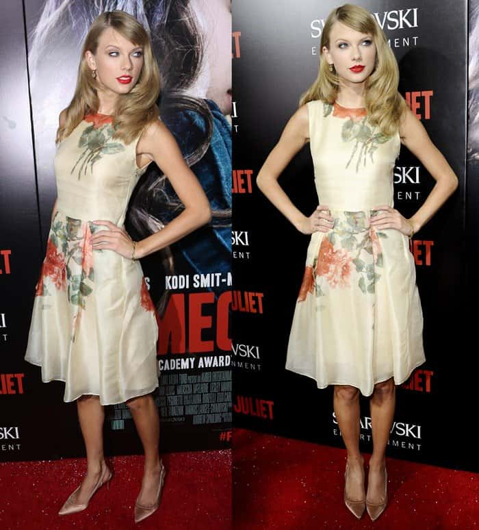 Taylor Swift flashed her legs in a floral Reem Acra dress paired with Christian Louboutin shoes