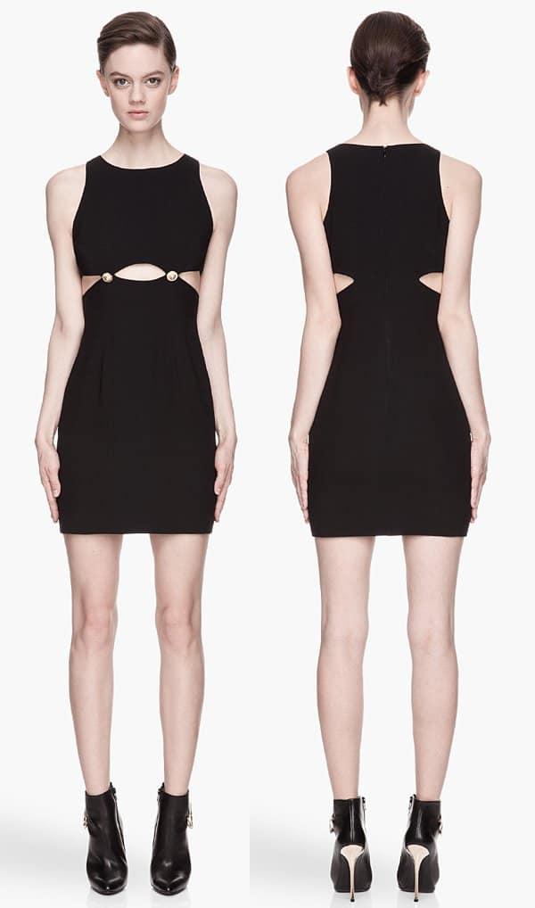 Versus Black Gold-Buttoned Cutout Dress