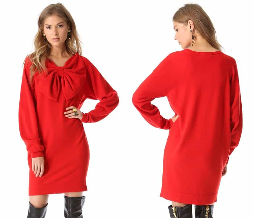 A vibrant red wool sweater dress with a distinctly feminine edge