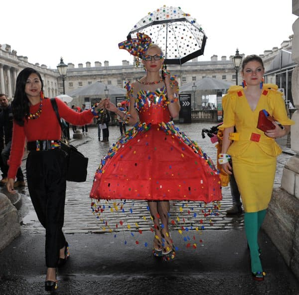 Anne-Sophie Cochevelou's team with the LEGO dress at London Fashion Week