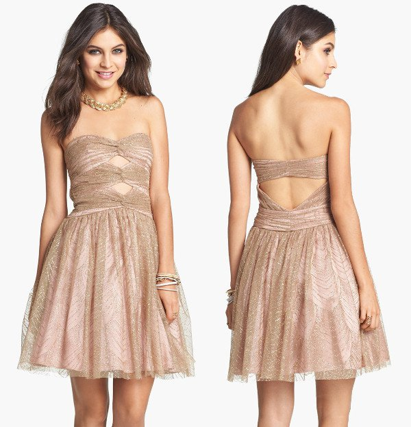 Hailey by Adrianna Papell - Metallic Mesh Fit & Flare Dress