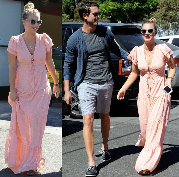 Kaley Cuoco going for bohemian chic in a peach maxi dress