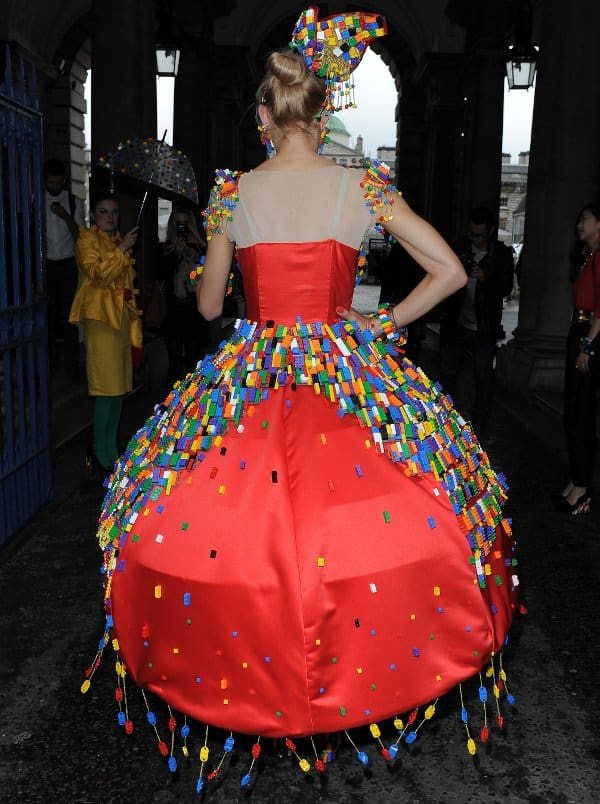 Anne-Sophie Cochevelou, a student at Central Saint Martins College of Art and Design, showed off her LEGO brick dress at London Fashion Week